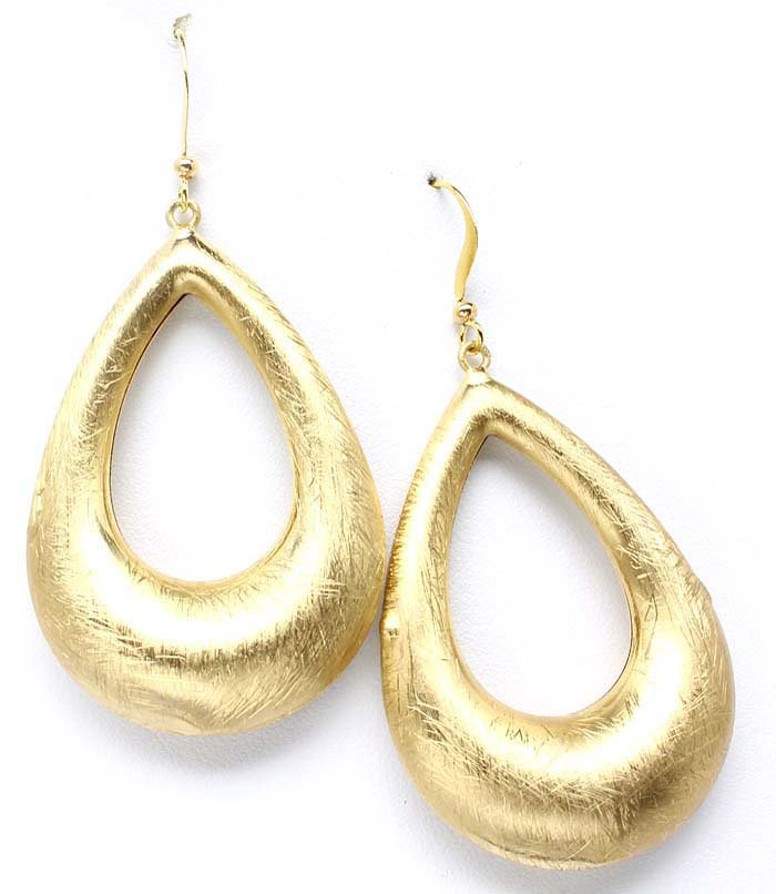 Gold Colored Earring Linear Drop Metal Casting Texture 2 Inch Drop 32528-35850MGGOD