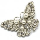 White Pendant And Brooch Brooch Crystal Studs Faux Pearl Butterfly Pierced 2 3 4 I 321628-75118RDWHT
