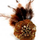Brown Ring Adjustable Stretch Feather Crystal Studs Flower Fabric Texture 4 Inch Ta 251818-6009BOBRO