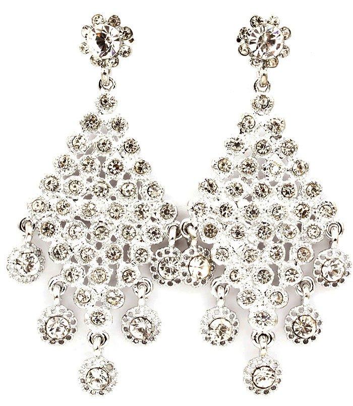 Clear Earring Post Earring Stud Glass Stone Diamond Shape Flower Texture 3 1 4 Inch 219205-3108RDCLR