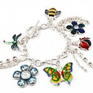 Multi Colored Bracelet Toggle Charm Metal Casting Crystal Studs Acrylic Stone Flow 210152-02202ASMLT
