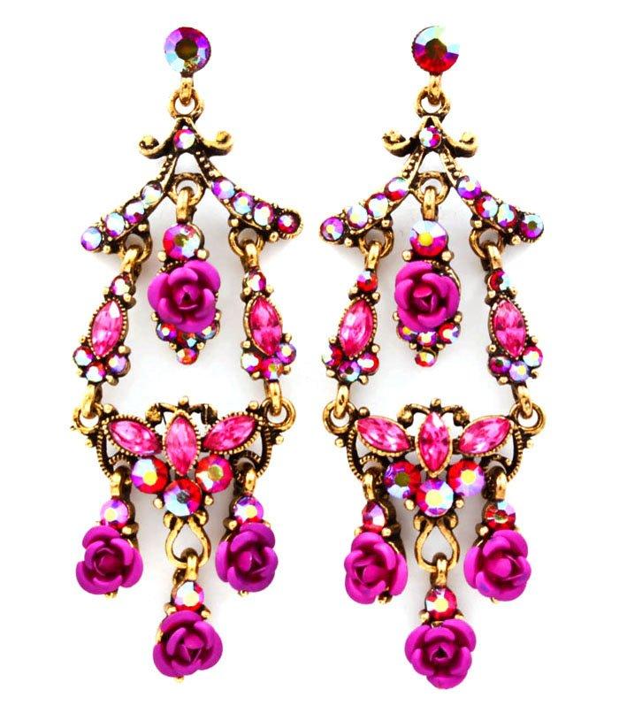Fuschia Earring Post Earring Metal Casting Crystal Studs Fringe Flower Navette Textur 53532-570AGFSH