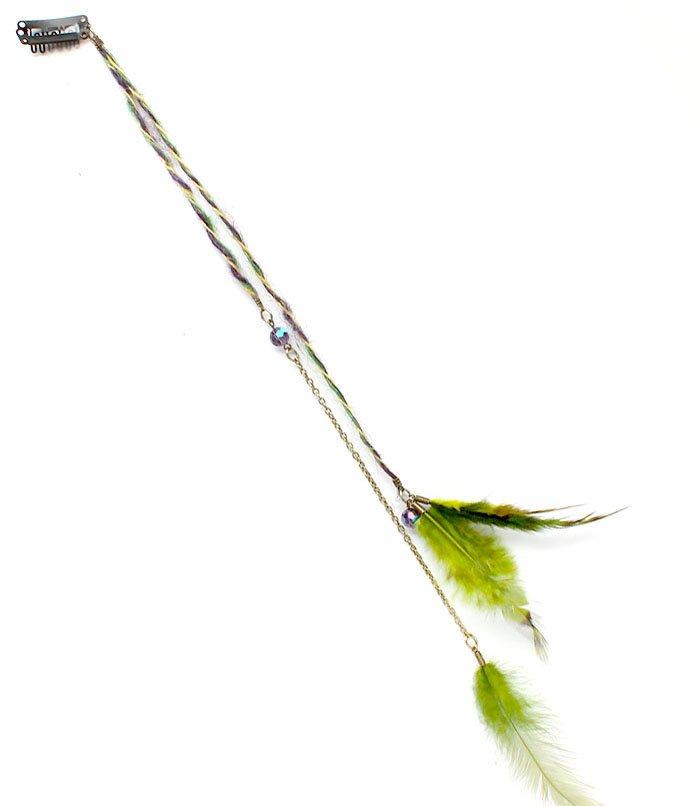Green Hair Accessories Hair Pin Feather Braided Bead 17 Inch Drop 25188-1002GRN