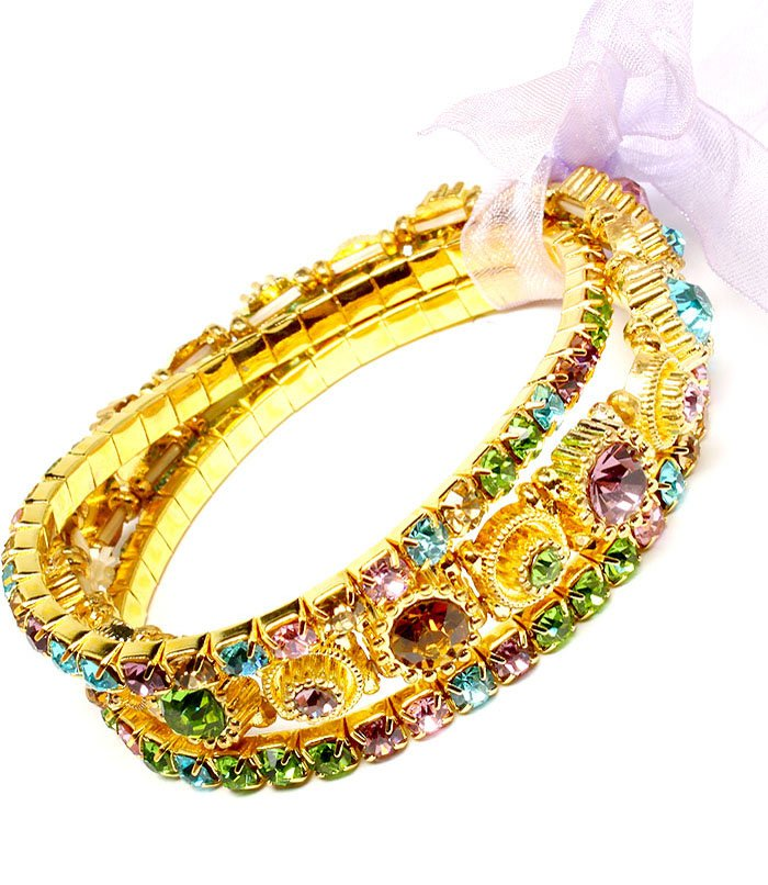 Multi Colored Bracelet Stretch Stackable Glass Stones Crystal Studs Prong Set Ribbo 219202-2039GDMLT