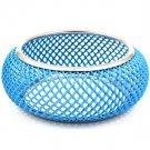 Blue Bracelet Bangle Hoop Mesh Chain Metal Casting 2 1 2 Inch Width 21234-098RDBLU