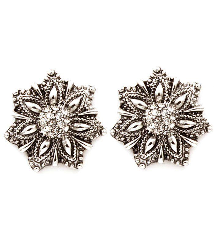 Clear Earring Clip On Metal Casting Crystal Studs Flower Texture 1 Inch Drop 1995-99688ASCLR