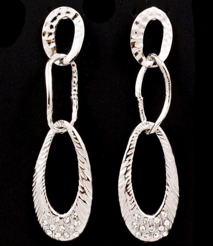 Clear Earring Fish Hook Linear Drop Metal Casting Link Crystal Studs Oavl 3 Inch Dro 1995-99595RDCLR