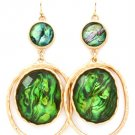 Green Earring Fish Hook Metal Casting Multi Layer Lucite Stones Faceted 2 1 2 Inch D 1965-99047MGGRN