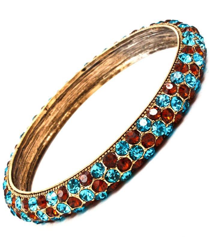 Bracelet Bangle Metal Casting Crystal Studs Texture 3 Inch Width 11312-997411BOTLB