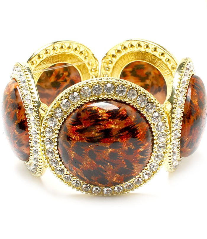 Clear Bracelet Stretch Crystal Studs Glass Stone Animal Print Texture 1 3 4 Inch Wid 310227-081AGCRA