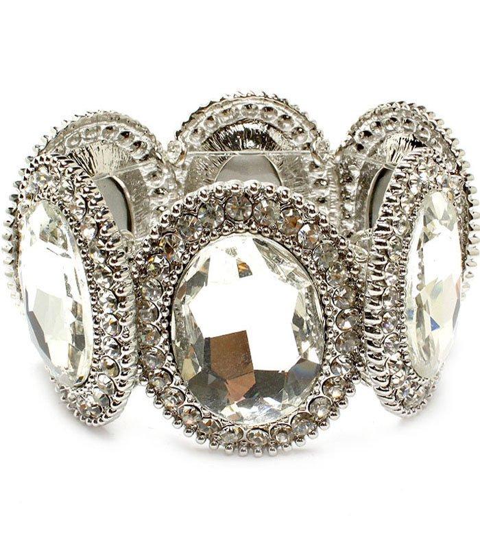 Clear Bracelet Stretch Crystal Studs Glass Stone Oval Texture 1 3 4 Inch Width 310227-058RDCLR