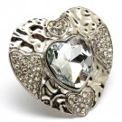 Clear Ring Adjustable Stretch Crystal Stone Faceted Heart Texture 1 3 4 Inch Width  3101827-503RDCLR