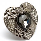 Black Ring Adjustable Stretch Crystal Stone Faceted Heart Texture 1 3 4 Inch Width  3101827-503BNBKA