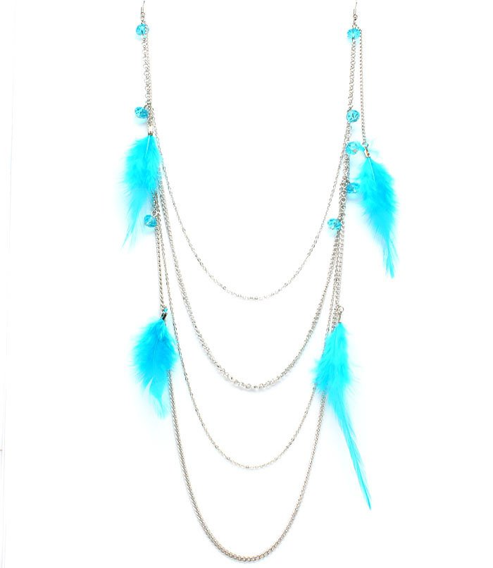 Blue Earring Earlaces Feather Metal Casting Multi Strand Bead 14 Inch Long 25185-7574RDBLU