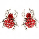 Red Earring Post Earring Crystal Studs Pave Set Texture Spider 1 Inch Drop 25185-5512BNRED