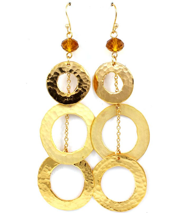 Gold Colored Earring Fish Hook Metal Casting Beads Metal Chaing Texture 4 Inch Drop 25185-3020GDGOD