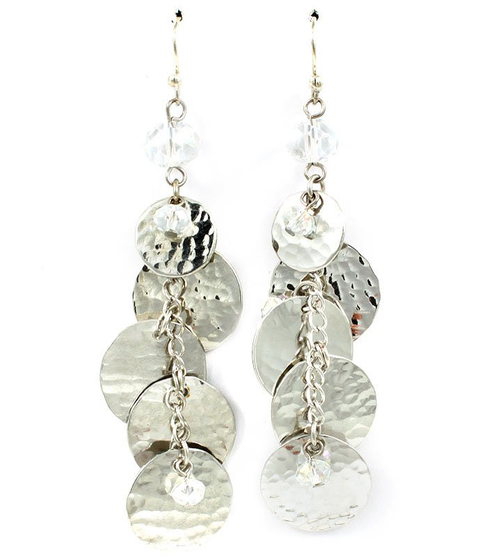 Silver Colored Earring Fish Hook Beads Metal Discs Texture Linear Drop 8 Inch Drop 25185-3016RDSIV