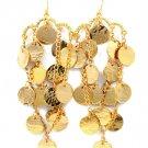 Gold Colored Earring Fish Hook Linear Drop Metal Petals Texture 3 1 2 Inch Drop 25185-3012GDGOD