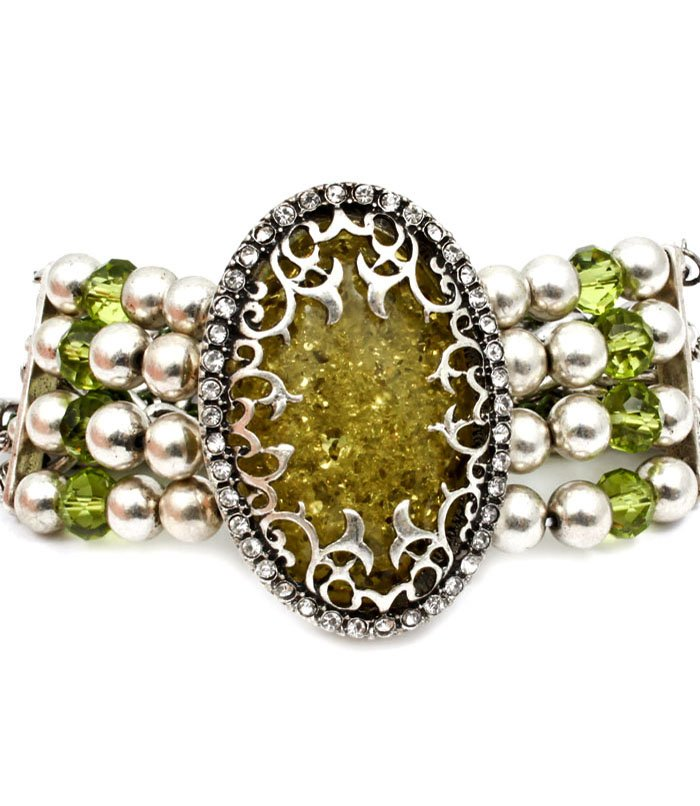 Green Bracelet Stretch Filigree Mixed Beads Lucite Metal Chains Interlaced 2 Inch Wi 25182-3171SOGRN