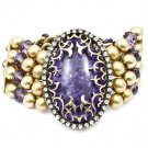 Purple Bracelet Stretch Filigree Mixed Beads Lucite Metal Chains Interlaced 2 Inch W 25182-3171BOPUR