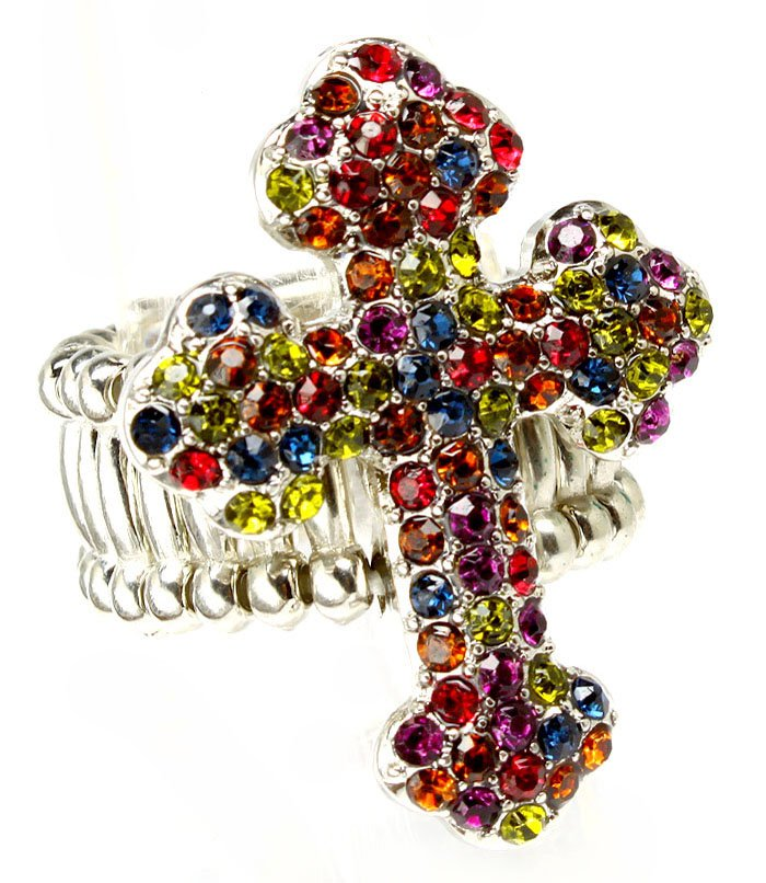 Multi Colored Ring Adjustable Stretch Cross Religious Crystal Studs 1 1 4 Inch Tal 251818-20339RDMLT