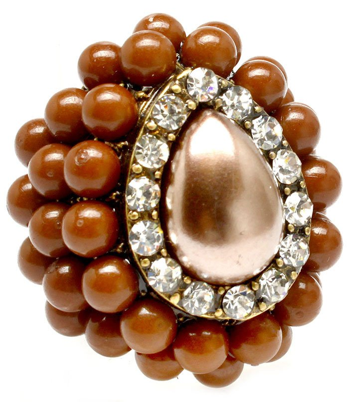 Brown Ring Adjustable Stretch Faux Pearl Crystal Studs Formica 1 1 2 Inch Tall 251818-2009BOBRO