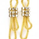 Clear Earring Post Earring Mesh Chain Glass Stones Tied 2 Inch Drop 219105-5144GDCLR