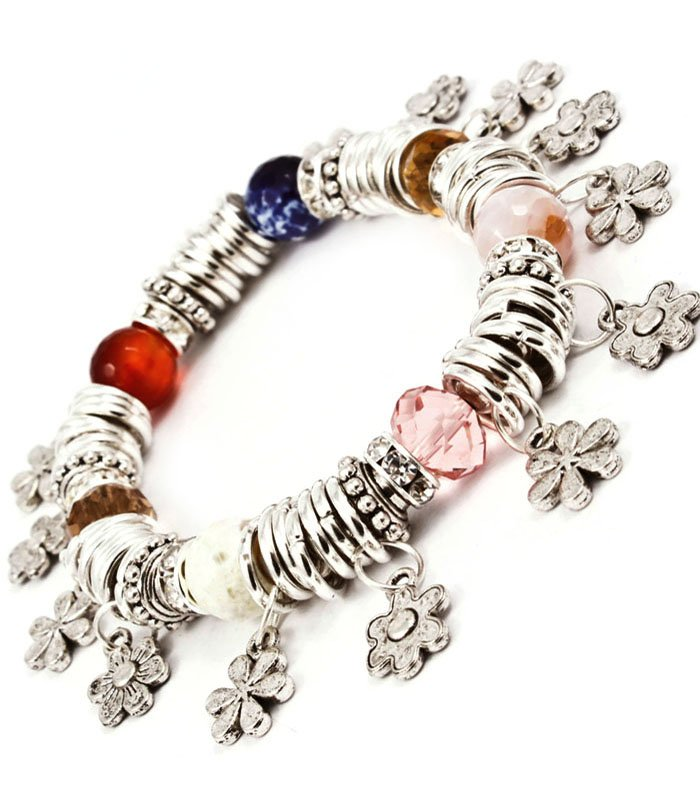 Multi Colored Bracelet Bangle Charm Mixed Bead Flowers Rondelle Acrylic Stones Tex 210152-03087RDMLT