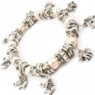 Cream Bracelet Bangle Stretch Charm Mixed Bead Metal Casting Acrylic Stones Elepha 210152-03082ASCRM