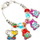 Multi Colored Bracelet Link Charm BearsBeads 1 1 4 Inch Drop 8 Inch Long 210152-02904ASMLT