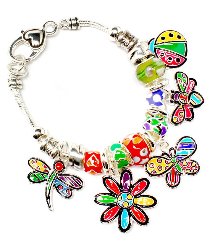 Multi Colored Bracelet Link Charm Dragon Fly Butterfly FlowerBeads Lady Bug 1 1 4  210152-02903ASMLT