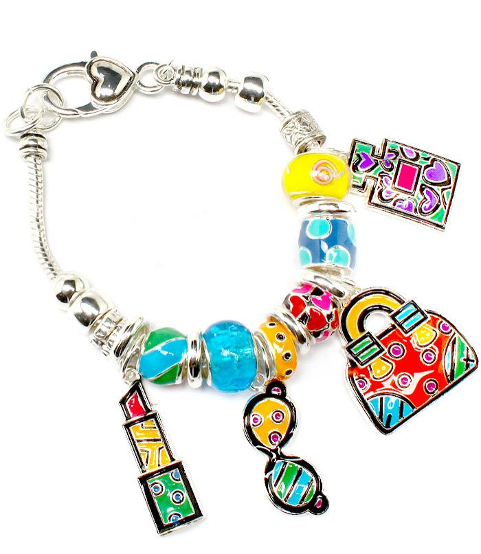 Multi Colored Bracelet Link Charm Lipstick Hand Bag PerfumeBeads 1 1 4 Inch Drop 8 210152-02902ASMLT