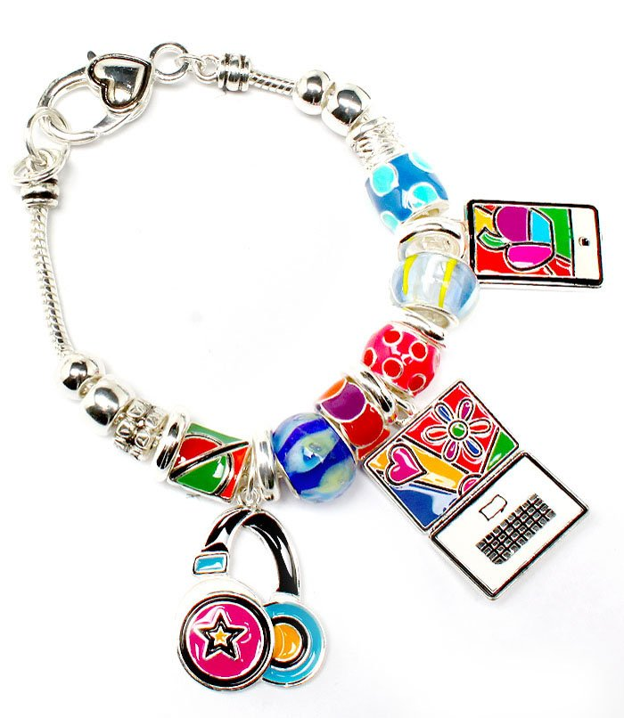 Multi Colored Bracelet Link Charm Computer Phone HeadphoneBeads 1 1 4 Inch Drop 8  210152-02901ASMLT