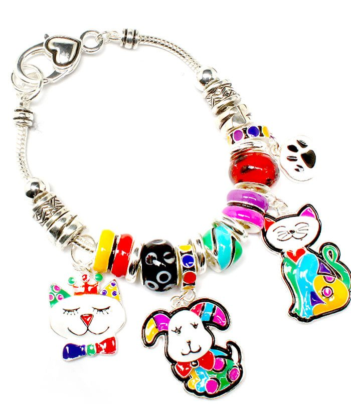 Multi Colored Bracelet Link Charm Cat Dog PawBeads 1 1 4 Inch Drop 8 Inch Long 210152-02898ASMLT