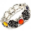 Multi Colored Bracelet Stretch Rose Glass Stones Crystal Studs Texture 20 Mm Width 210152-02671ASMLT