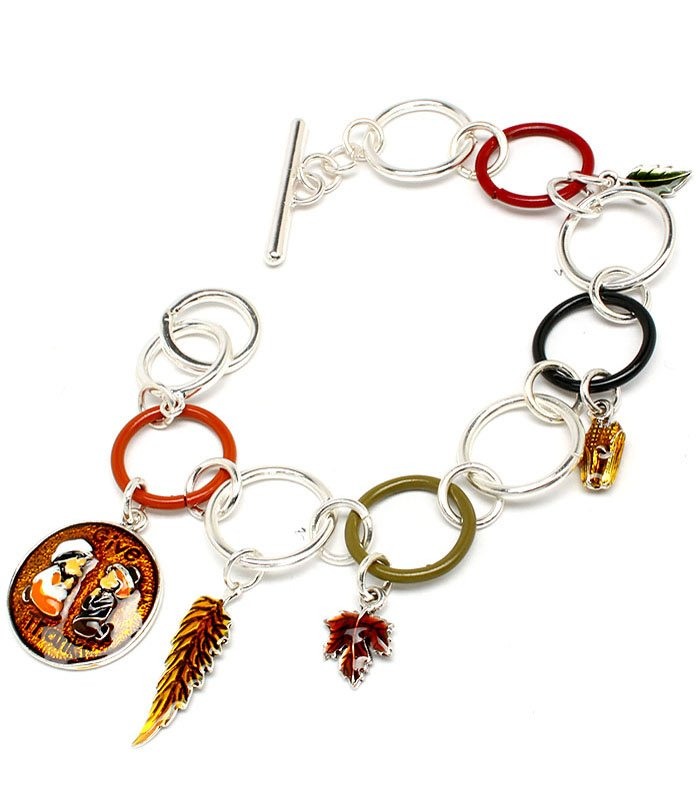 Multi Colored Bracelet Toggle Link Bead Thanksgiving Leaves Fall 1 Inch Drop 8 Inc 210152-01768SVMLT