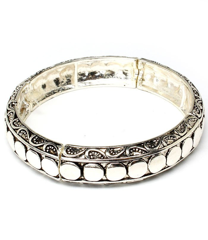Silver Colored Bracelet Stretch Bridge Jewelry Texture Designer Inspired Tarnishme 210152-01743ASSIV