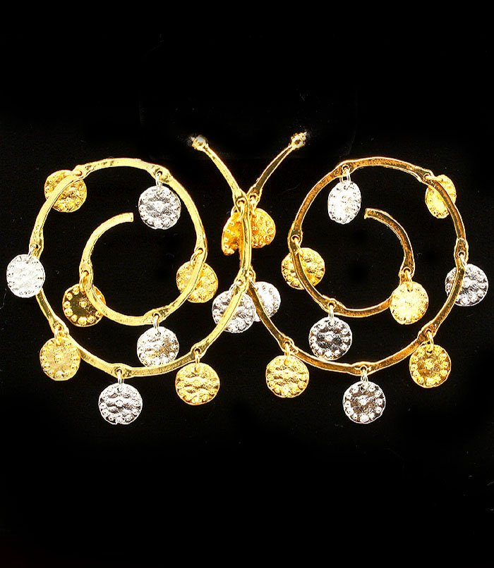 Gold Colored Earring Linear Drop Post Earring Charm Texture 2 1 2 Inch Drop 1995-99830TTGOD