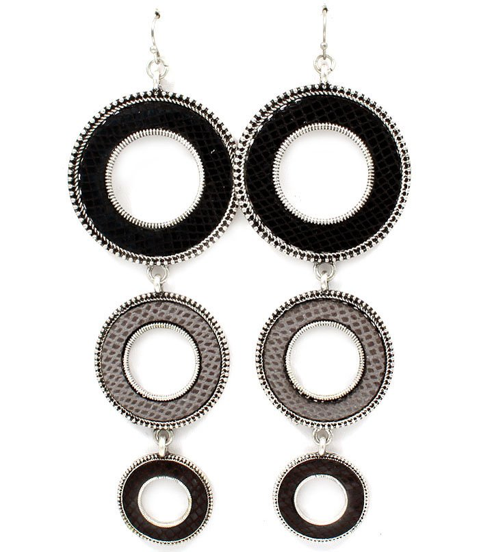 Black Earring Fish Hook Round Charms Vinyle Cover Texture Linear Drop 4 Inch Drop 1995-99051SOBLK