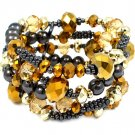 Gold Colored Bracelet Stretch Beads Mixed Beads Glass Beads Seed Beads 1 1 2 Inch Wi 1992-99029BNGOD