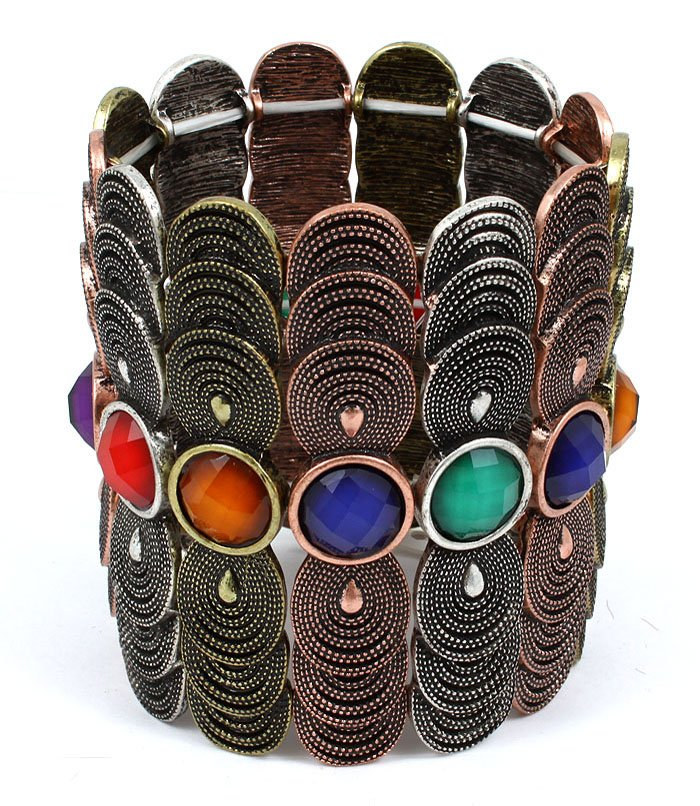 Multi Colored Bracelet Stretch Formica Faceted Texture Multi Layered Charms 3 Inch W 1992-99001THMLT