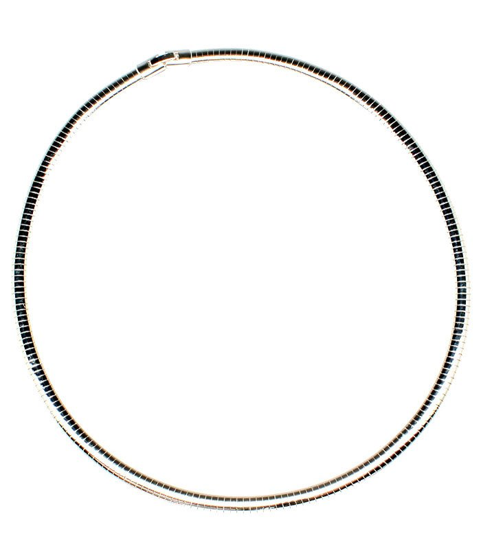 Silver Colored Necklace Metal Casting Omega Chain 6 Mm Width 20 Inch Long 19914-0620RDSIV