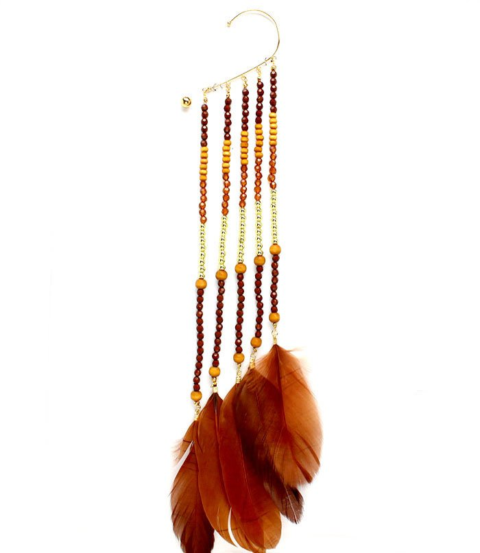 Brown Earring Oversized Ear Wrap Feathers Beads Wood Beads Mixed Beads 13 Inch Drop 1965-99699GDBRO