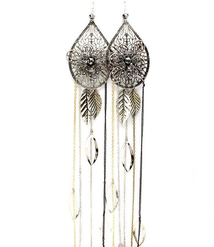 Silver Colored Earring Fish Hook Filigree Texture Beads Tassel Metal Leaves Tear Dro 1965-99655SOSIV