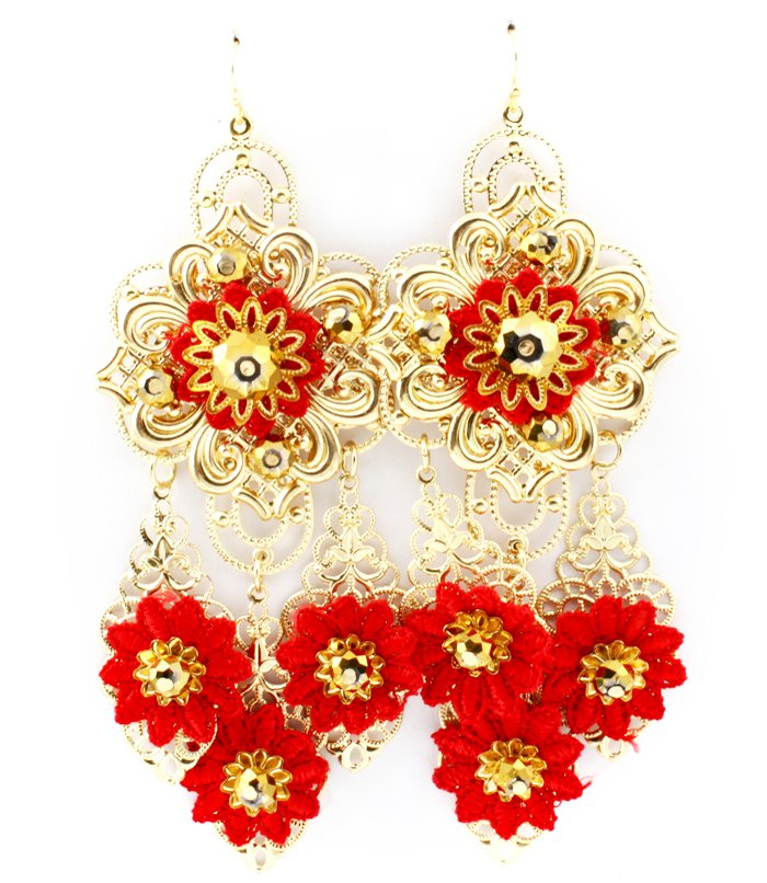 Red Earring Fish Hook Chandelier Drop Beads Fabric Thread Filigree 4 1 2 Inch Drop 1965-99589GDRED