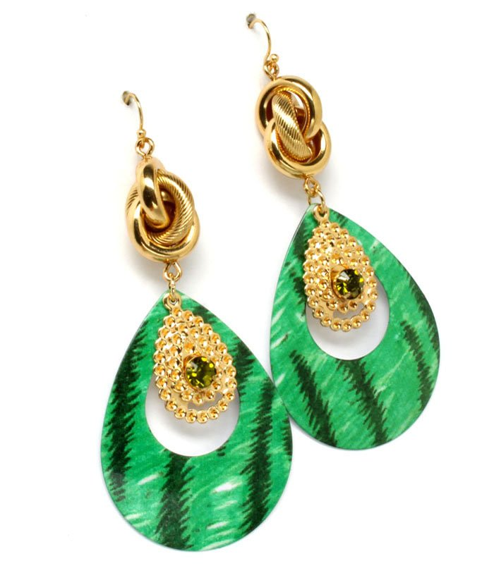Green Earring Linear Drop Fish Hook Tear Drop Knot Pierced 3 Inch Drop 1965-99446GDGRN