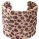 Cream Bracelet Cuff Faux Fur Animal Print Fabric Cover 2 1 2 Inch Width 1962-99498CRM