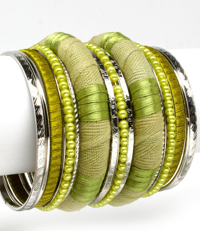 Green Bracelet Bangle Stackable Bead Fabric Ribbon Texture 3 Inch Width 11622-0456RDGRN
