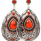 Coral Earring Post Earring Tear Drop Crystal Studs Formica Metal Casting Cabochon T 218195-6201SOCOL