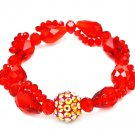 Red Bracelet Stretch Bead Fireball Acrylic Stones Faceted 14 Mm Width 219202-7102RED